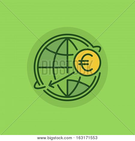 International money transfer green icon. Vector Euro money online transfer colorful sign or logo element