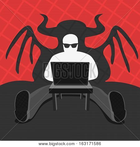 Hacker and Computer Devil Vector Illustration eps 8 file format