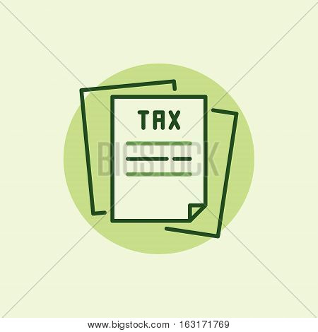 Tax green icon - vector sheet of paper symbol or logo element with a word TAX in headline