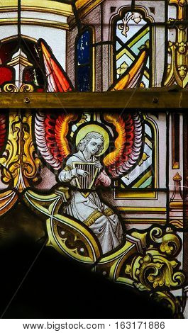 Stained Glass - Angel And A Celtic Harp
