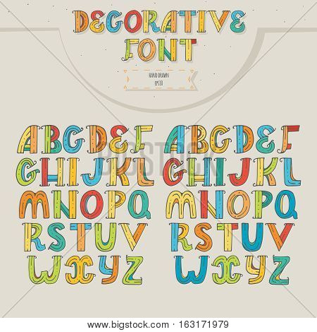 Big set of colorful decorative letters on beige background. Letters sequence from A to Z in two different color versions for creative lettering. Vector hand drawn illustration in bright colors