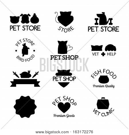 Logo for pet shop or animal clinic. Veterinary design symbol isolated silhouette care label. Creative company emblem. Health hospital funny silhouette.