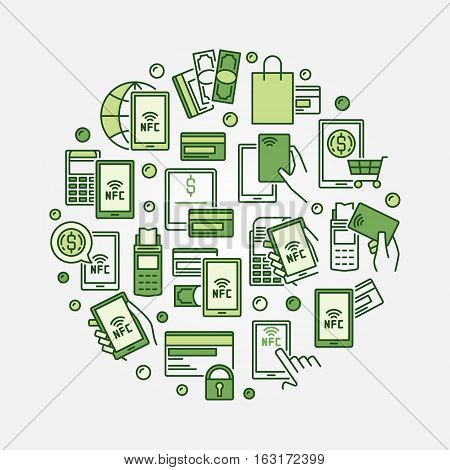 NFC green round illustration. Vector colorful smartphone NFC payment concept symbol or design element