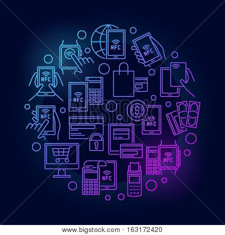 NFC payment circular bright illustration. Vector mobile and smartwatch payment colorful design. NFC technology outline concept sign on dark background