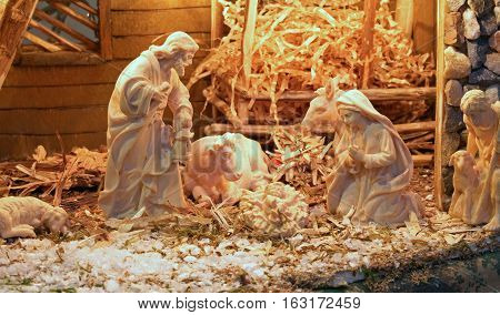 Traditional Nativity Scene With St. Joseph And The Virgin Mary A