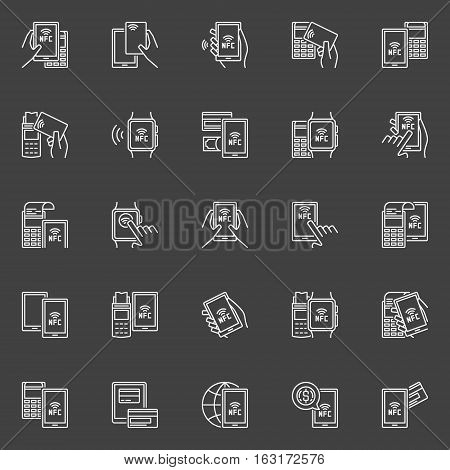 Payment with NFC icons. Vector set of outline contactless payments concept signs. NFC smartphone, smart watch and card payment linear symbols on dark background