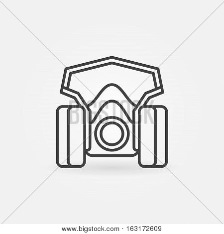Spray paint mask icon. Vector thin line paint respirator concept symbol or design element