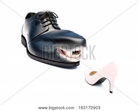 Chief shouting at employee. Male and female shoes on white background.