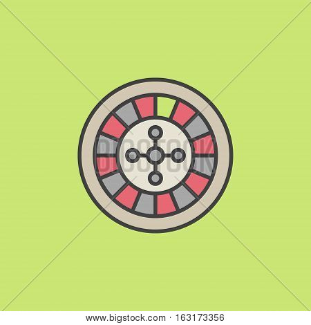 Colorful roulette wheel icon. Vector roulette sign or logo element on green background