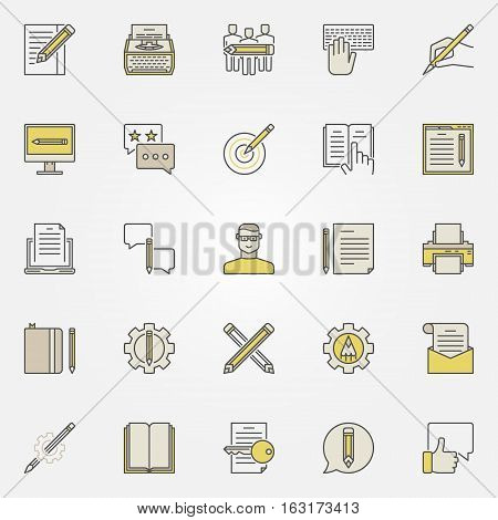 Content writing icons. Vector colorful typewriting, blogging copywriting concept symbols