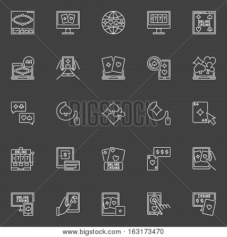 Online poker and casino icons. Vector collection of outline cards, poker chips and other gambling signs on dark background