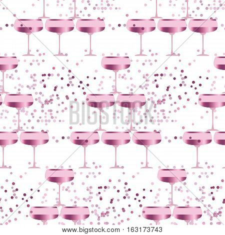 elegant light seamless pattern with sparkling wine. celebration repeatable motif with rosy champagne for wrapping paper, wallpaper, fabric, background.