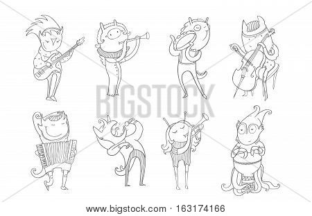 Vector black and white collection with lovely monsters playing musical instruments and singing. Creatures play accordion trumpet drum guitar flute cello tambourine. Hand drawn characters set .