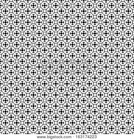 Vector seamless pattern with simple geometric figures. Black & white illustration of lattice, oriental style. Abstract repeat background. Design for prints, decoration, textile, furniture, digital