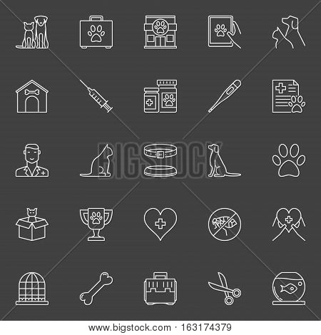 Veterinary clinic icons. Vector collection of cat, dog vet medicine outline concept signs on dark background