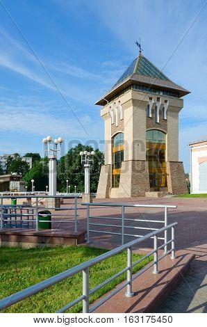 VITEBSK BELARUS - JULY 13 2016: Dukhovskoi Kruglik (Museum of History of Lower and Upper Castle and festival Slavic Bazaar) near summer amphitheater