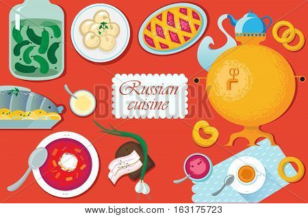 Set Russian national food. Food illustration russian cuisine with pancake, dumplings, borscht, herring, sauerkraut, pickles, bacon, samovar, cup napkin cake jam pancakes muffins