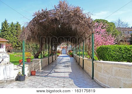 Pergola on the site of Church of St. Mary of Blachernae, Istanbul, Turkey