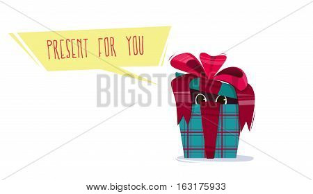 Present bright colorful, with a bow and a geometrical pattern. From outdoor swimming caps peeping eyes. Congratulation to the holiday. Animal surprise. Vector illustration.