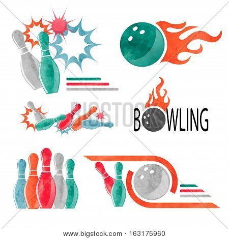 Set of colorful bowling logo icons and symbols isolated on white. Bowling ball and pins vector illustration. Design elements.
