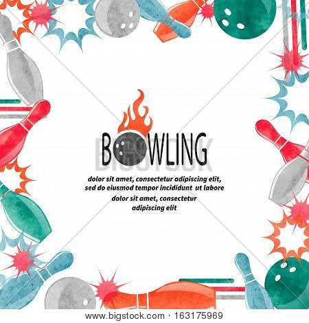 Bowling square border isolated on white for your design. Frame vector background with bowling balls and pins