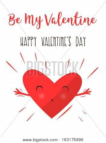 Hearts hugging and happy. Declaration of love. Happy Valentine's Day. Pretty heart. Vector illustration .
