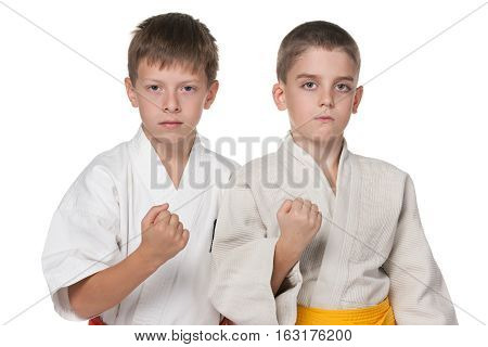 A portrait of two boys in kimono on the white background