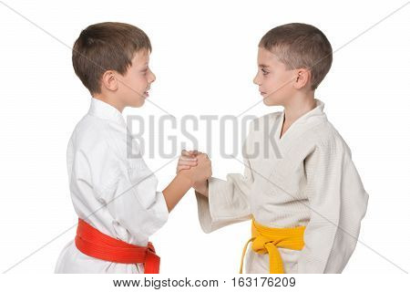 A portrait of handshaking boys in kimono against the white background