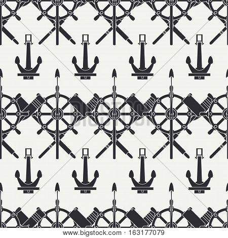 Line vector nautical seamless background pattern with anchors, steering wheel, harpoon, paddles . Vector illustration texture for design, wallpaper. Cartoon style. Sea. Logo. Monochrome. Folkloric.