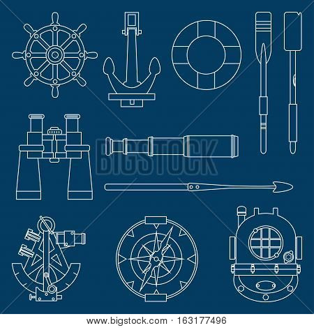 Line flat vector marine icons set with nautical design elements anchor, wheel, lifebuoy, compass, harpoon, paddle, diving helmet, sextant, binoculars, telescope. Illustration. Sea adventures. Ocean