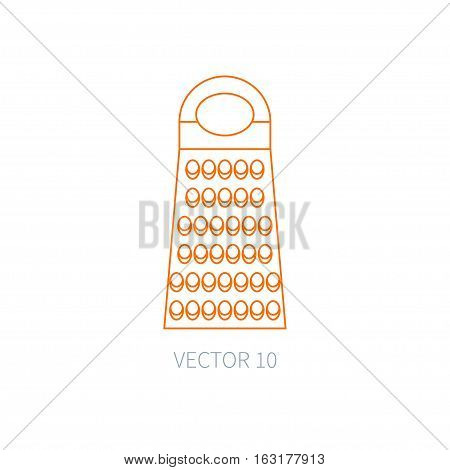 Line flat vector kitchenware icons - grater. Cutlery tools. Cartoon style. Illustration, element for your design. Equipment for food preparation. Kitchen. Household. Cooking. Cook.