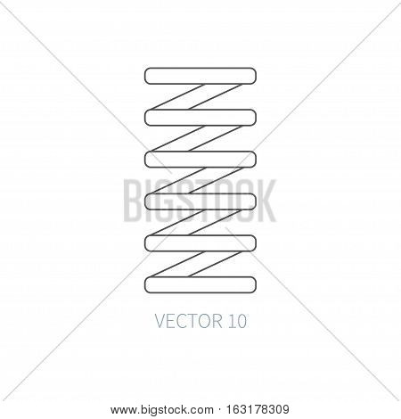Line flat vector icon car repair part - spring. Internal combustion engine elements. Industrial. Cartoon style. Illustration, element for your design. Simple. Monochrome. Auto service. Maintenance.