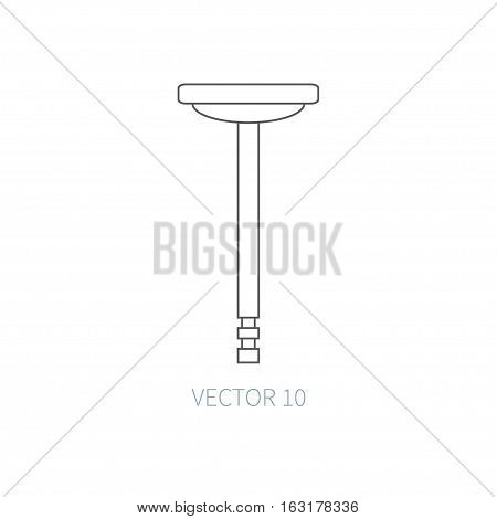 Line flat vector icon car repair part - valve. Internal combustion engine elements. Industrial. Cartoon style. Illustration, element for your design. Simple. Monochrome. Auto service. Maintenance.