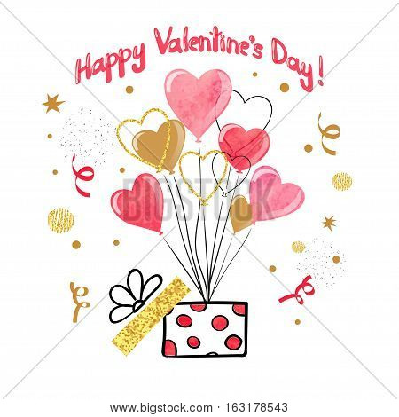 Valentines day card design with heart balloons. Vector illustration