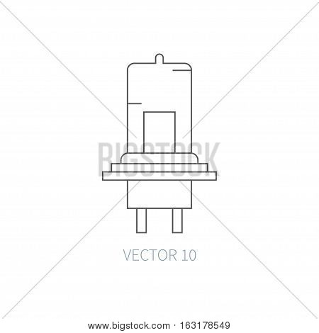 Line flat vector icon car repair part - electric lamp. Internal combustion engine elements. Industrial. Cartoon style. Illustration, element for your design. Monochrome. Auto service. Maintenance.