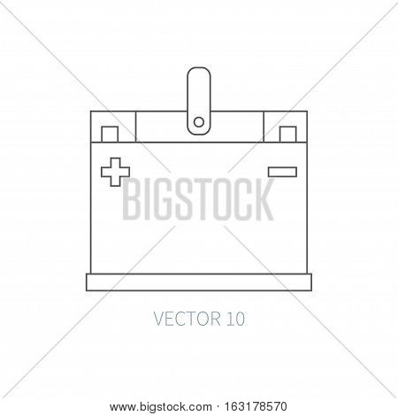 Line flat vector icon car repair part - battery. Internal combustion engine elements. Industrial. Cartoon style. Illustration, element for your design. Monochrome. Auto service. Maintenance.