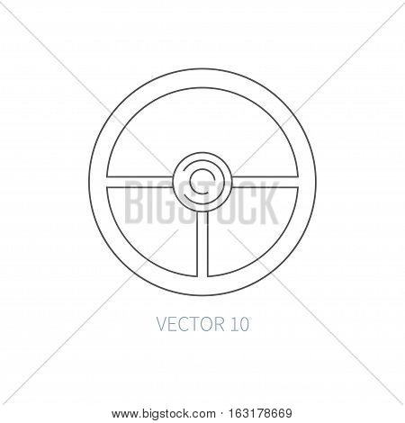 Line flat vector icon car repair part - steering wheel. Internal combustion engine elements. Industrial. Cartoon style. Illustration, element for your design. Monochrome. Auto service. Maintenance.