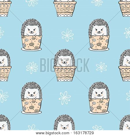 Seamless pattern with cute hedgehogs in pots. Vector background for kids.