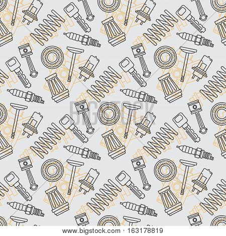 Line flat seamless background pattern with piston, filter, spark plug, spring, valve, bearing, light. Vector illustration texture for design, wallpaper. Auto service. Maintenance. Cartoon style.