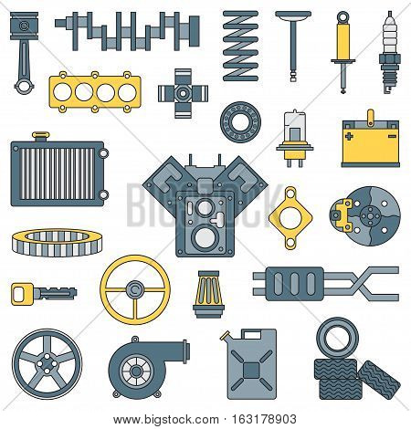 Line flat color vector icon car parts set with undercarriage end internal combustion engine elements. Industrial. Cartoon style. Illustration, element for your design. Auto service. Maintenance.