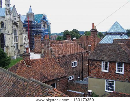 Canterbury Cathedral in Canterbury UK with other ancient houses