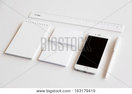 Blank stationery and corporate identity set on white background. Template for design presentations. Branding Mock-Up