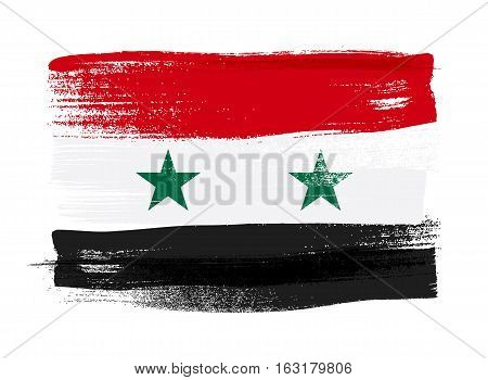 Syria colorful brush strokes painted national country Syrian flag icon. Painted texture.