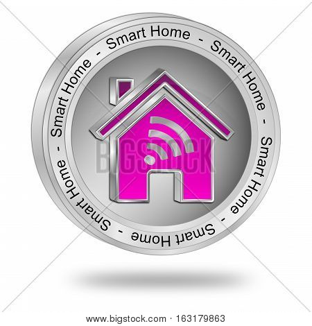 silver Smart Home Button - 3D illustration