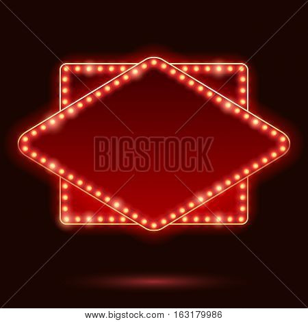 Light bulbs vintage neon glow square rhombus frame vector illustration. Good for cinema show theatre circus casino design.