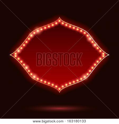 Light bulbs vintage neon glow frame vector illustration. Good for cinema show theatre circus casino design.