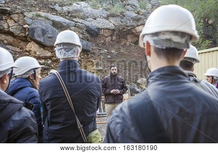 Malaga Spain - December 6 2016: A guide shows the visitors the Gorge of the Gaitanes and Caminito del Rey path Malaga Spain