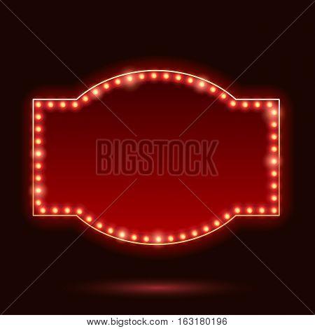 Light bulbs vintage neon glow sticker form frame vector illustration. Good for cinema show theatre circus casino design.