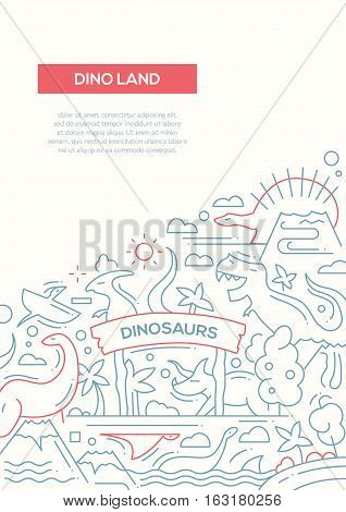 Dinoland - vector plain line design brochure poster, flyer presentation template, A4 size layout