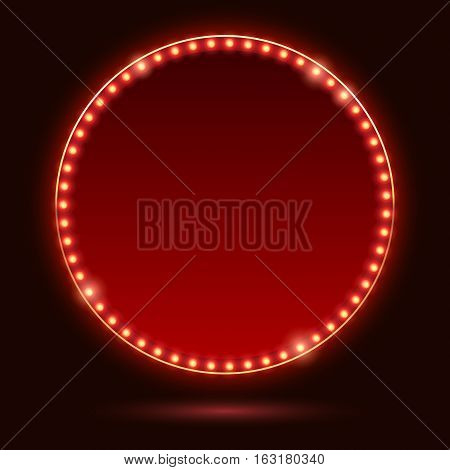 Light bulbs vintage neon glow round frame vector illustration. Good for cinema show theatre circus casino design.